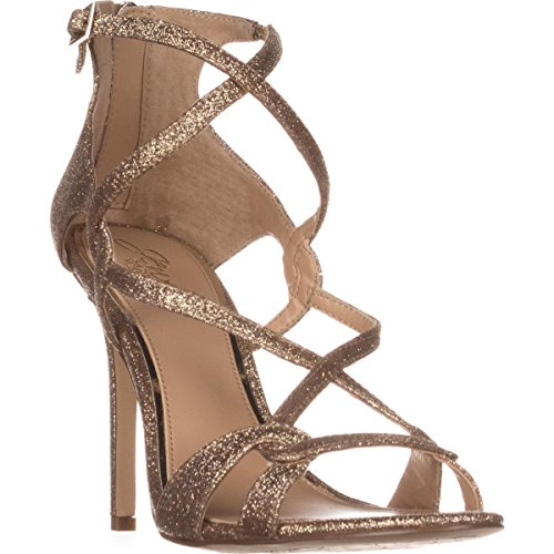 Badgley Mischka Jewel Aliza Strappy Evening Sandals - Gold Glitter, 7 US