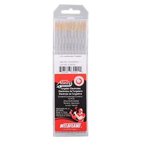 Weldflame Tungsten Electrode WL15 1.5% Lanthanated (Gold) 3/32