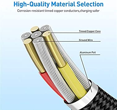 Cable Length 1m Premium Material JINGZ USB to Micro USB Magnetic Metal Connector Nylon Two-Color Braided Magnetic Data Cable Color : Gold