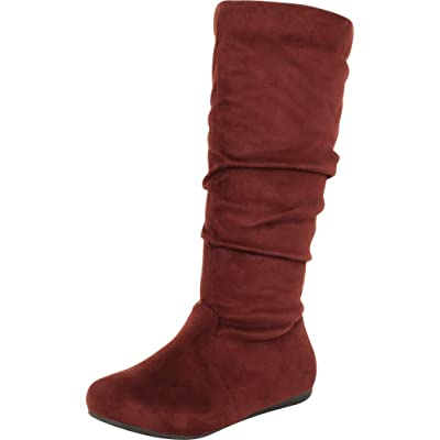 Cambridge Select Women's Classic Round Toe Slouchy Mid-Calf Flat Boot | Mid-Calf