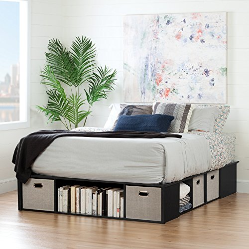 "South Shore 10488 60"" Flexible Platform Bed with Storage and Baskets, Queen, Black Oak"