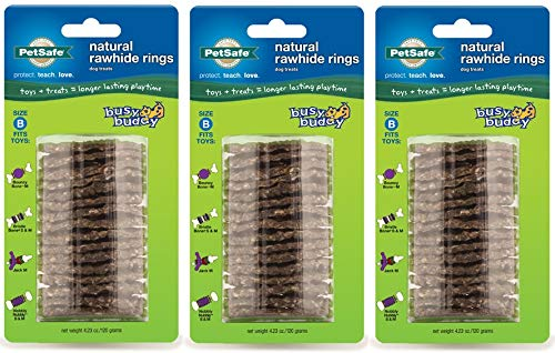 (Pack of 3) PetSafe Busy Buddy Refill Ring Dog Treats for Select Busy Buddy Dog Toys, Natural Rawhide (Busy Buddy Refill Size B)