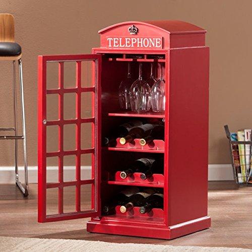 Nigel Phone Booth Wine Cabinet, 3 wine storage shelves, 3 glassware racks