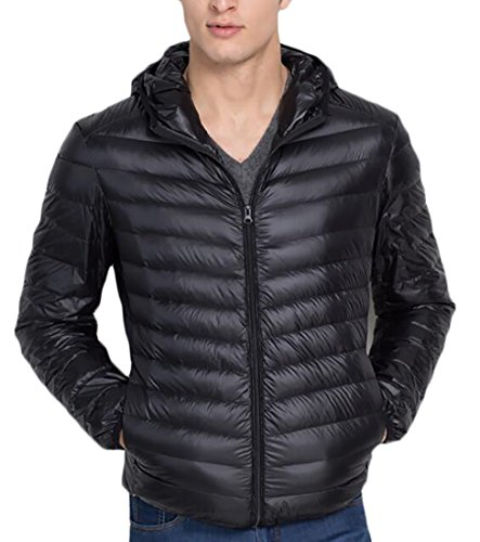Fashion Packable Generic Coat Jacket Black Hooded Down Men's Winter Weatherproof FqvBg
