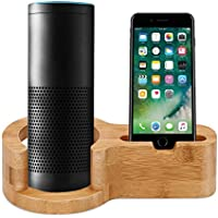 Speaker Stand for Echo, ALLOMN 2 in 1 Bamboo Wood Desktop Guard Station Charging Dock Holder for Alexa Echo iPhone Phones and Sleek Home Decor