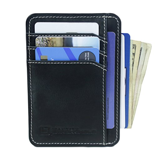 Front Pocket Mini (RFID Wallet Front Pocket Mini - Protective Minimal Wallets for Men and Women (Premium Black Leather))