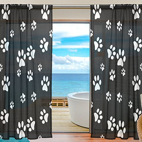 SEULIFE Window Sheer Curtain, White Puppy Dog Animal Paw Print Voile Curtain Drapes for Door Kitchen Living Room Bedroom 55x78 inches 2 Panels