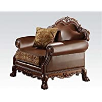 ACME 15162 Dresden Chair with Pillow, Chenille PU Finish