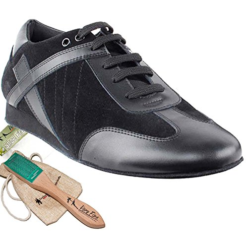 Men's Ballroom Latin Salsa Sneaker Dance Shoes Leather Black SERO106BBXEB Comfortable - Very Fine 10.5 M US [Bundle of 5] (Salsa Shoes Men)