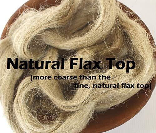 - 2oz Flax Spinning Fiber Combed Top Vegan Plant Fiber for Spinning Fibre Roving Undyed Natural Sliver for Spinning Blending Dyeing