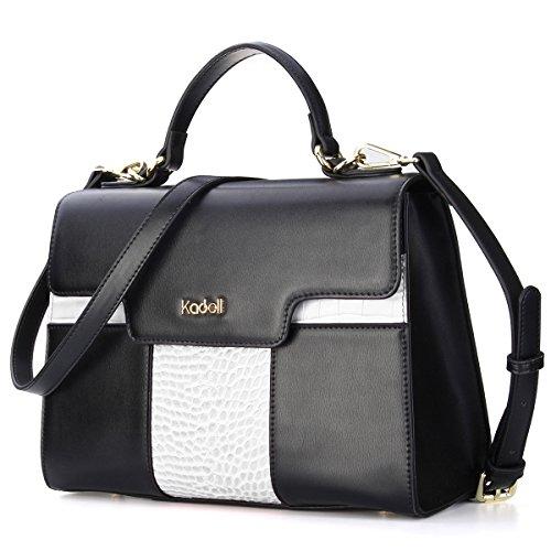 Large Flap Purse - Kadell Women Vintage Leather Handbags Tote Shoulder Bag Satchel Purse for Ladies White