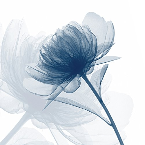 (Wieco Art Blue Flickering Flower Modern Abstract Canvas Wall Art Gallery Large Wrapped Perfect Floral Pictures Paintings on Canvas Print Artwork Ready to Hang for Living Room Bedroom Home Decor L )