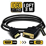 NewBEP HDMI to VGA Adapter Cable, 10Ft/3M Gold-plated 1080P HDMI Male to VGA Male Active Video Converter Cord Support Notebook PC DVD Player Laptop TV Projector Monitor Etc