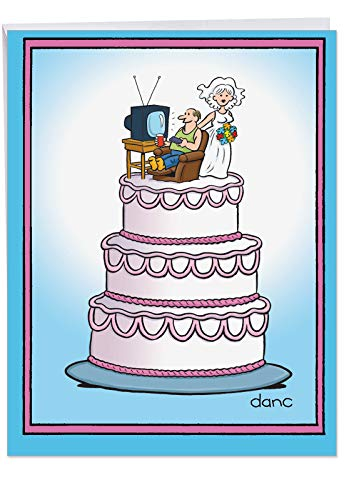 Large Funny Anniversary Card - Big Appreciation Gift With Hilarious Cover 'Wedding Cake' With Envelope - Bride w/Flowers and Happy Groom Watching TV - Show your Love! 8.5 x 11 Inch J3756