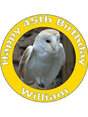 Surprising 7 5 Barn Owl Birthday Cake Toppers Decorations Personalised On Personalised Birthday Cards Akebfashionlily Jamesorg