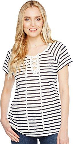 Allen Allen Womens Short Sleeve Lace Front Tee White XL (Women's 16) One (Allen Allen Short Sleeve T-shirt)