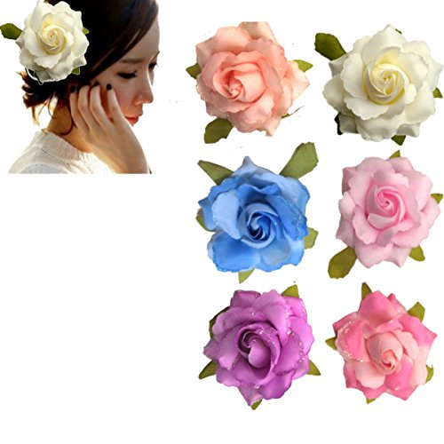 Purple Hat Pins (Two Methods of Use Rose Flower Hair Clips Hair Barrettes Floral Brooches Pin For Women Girls Lady(6 Pieces))