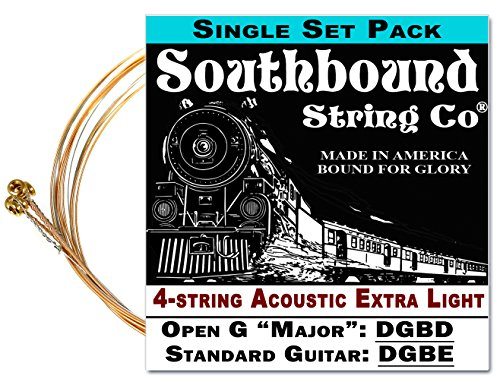 - Acoustic Extra-Light 4-String Cigar Box Guitar Strings - Open G/Open D/Standard Tuning