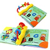Coolplay Non-toxic Cloth Soft Book-Teether Rings-Infant Baby Toddler Activity Gift - Learn English Letters A B C - Squeak, Rattle, Crinkle