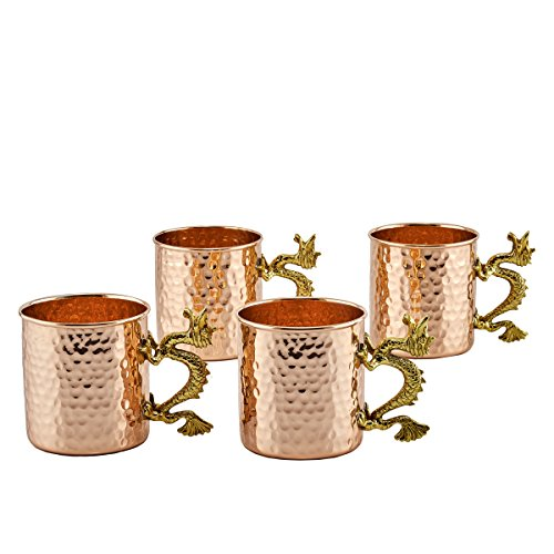 (Old Dutch Dragon Handle Solid Copper Hammered Mugs, 20 oz, Set of 4)