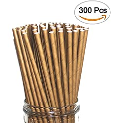 World Brand 300 Dye-Free Biodegradable PREMIUM Paper Straws, Made from Kraft