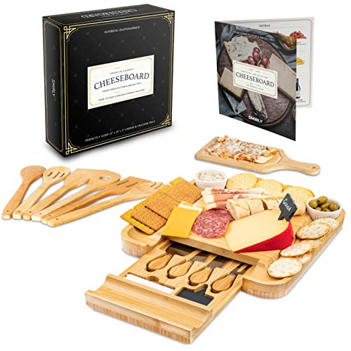 Smirly Cheese Board and Knife Set: 13 x 13 x 2 Inch Wood Charcuterie Platter for Wine, Cheese, Meat (Cheese Wooden Boards)