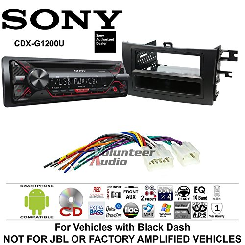 Volunteer Audio Sony CDX-G1200U Double Din Radio Install Kit with CD Player, USB/AUX Fits 2009-2013 Non Amplified Toyota Corolla