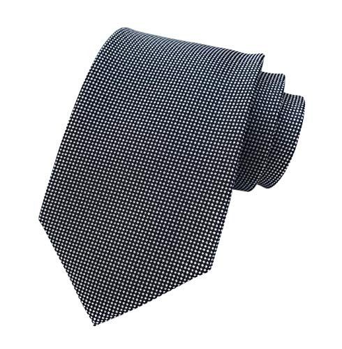 (Men's Black and White Micro Check Ties Long Regular Wedding Necktie for Young Boys)