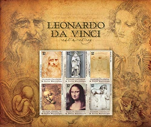 Leonardo Da Vinci Famous Artworks - Mona Lisa and Others - Limited Edition Collectors Stamps - Grenada