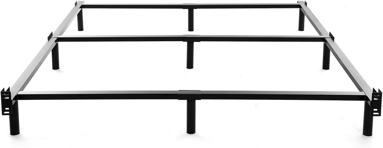NOAH MEGATRON Full Size Metal Bed Frame-7 Inch Heavy Duty Bedframe, 9-Leg Support for Box Spring Mattress Foundation, 3000LBS, Black