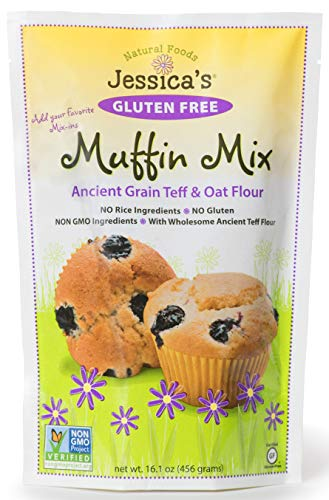 Jessica's Natural Foods Gluten Free Muffin Mix - All-Natural Non GMO Muffin Mix - Certified Gluten Free - 2 Packs (Muffin Mix) - Free Blueberry Muffin