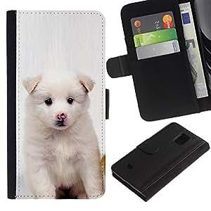 """Be-Star la tarjeta de Cr¨¦dito Slots PU Funda de cuero Monedero caso cubierta de piel Para Samsung Galaxy S5 Mini (Not S5), SM-G800 ( Perrito blanco del rosa de la nariz de perro Negro Ojos"""" )"""