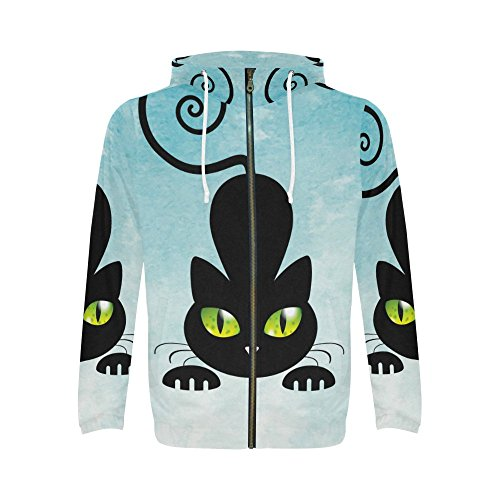 INTERESTPRINT Custom Funny Cute Black Cat Kitty Pet Men's Full-Zip Zipper Hoodies Sweatshirt M