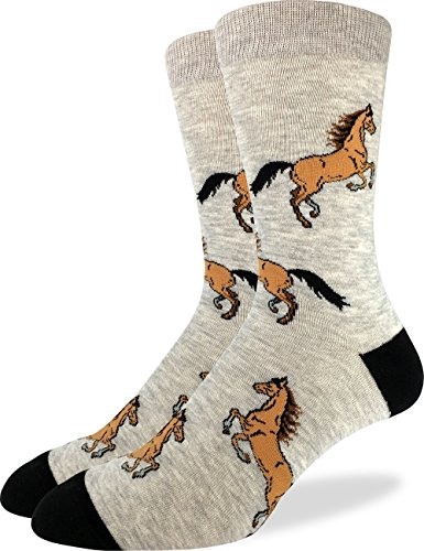 94fd129818c2 Good Luck Sock Men's Horses Crew Socks - Grey, Shoe Size 7-12 ...