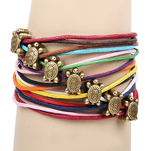 Winter's Secret Bronze Tortoise Pattern Hand Braided Diy Color Wax Rope Ancient Wrap Bracelet