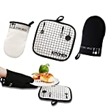 100% Cotton Oven Gloves Non-Slip Kitchen Oven Mitts Heat Resistant for Cooking, Baking, Barbecue Potholder 1 Pair with Pot Holder