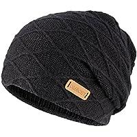900aeeba89d OMECHY Mens Winter Warm Knitting Hats Thick Wool Baggy Slouchy Beanie Hat  Skull Hat Ski Cap
