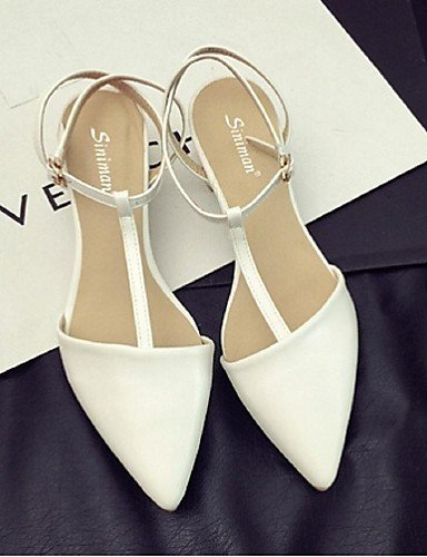 ShangYi Womens Shoes Low Heel Pointed Toe Sandals Casual White/Gold White