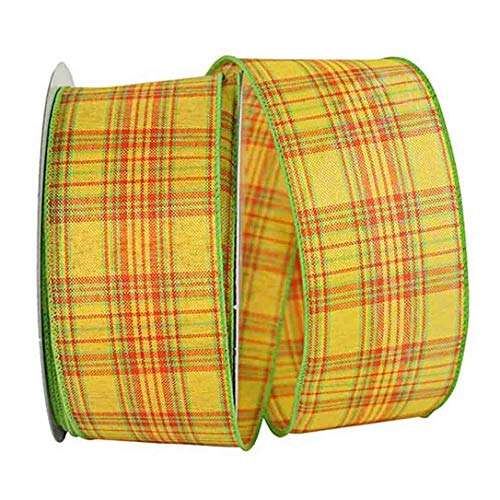 (Yellow Plaid Wired Edge Ribbon - 2 1/2