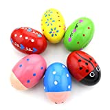 HAZOULEN Set of 6 Wooden Percussion Musical Egg Maracas Egg Shakers: more info