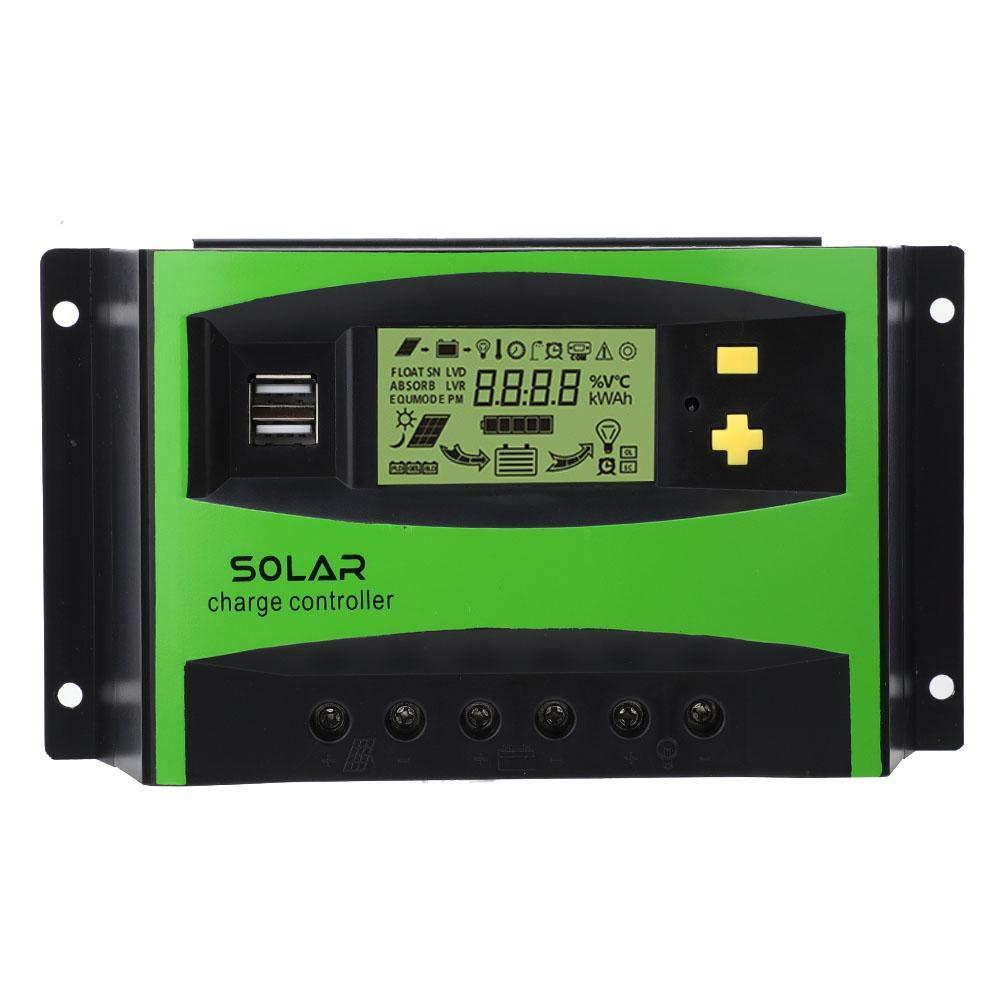 Controlador de Carga Solar, 40A 12V 24V Regulador de Carga Solar IP32 PWM Controlador de Carga Solar Regulador Inteligente del Panel Solar 28-10AWG