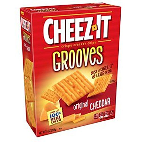 Cheez-It Grooves Crispy Cheese Cracker Chips, Original Cheddar, 9 oz Box