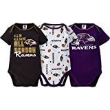 2016 Gerber Baby Boys Baltimore Ravens Bodysuits 3 Pack Size 0/3 Months