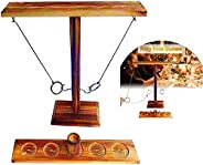 Hook and Ring Games,Hand Made Wooden Games for Children and Adults Tied with Shooting ladders, Fast-paced Inte