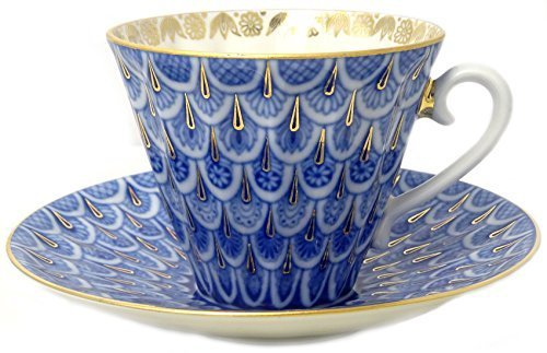 Lomonosov Porcelaini Cup and Saucer Forget me Not 2pc by Lomonosov Russia