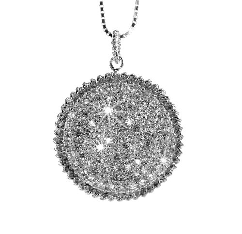 White Gold Plated (Rhodium Plated) 925 Sterling Silver with Clear Cubic Zirconia (White CZ) Pave Round Shape CZ Accent Pendant (chain not included) ()