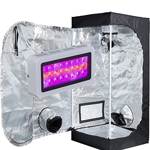 TopoLite 300W/ 600W/ 800W/ 1200W Full Spectrum LED Grow Light + Multiple Size Grow Tent Dark Room Indoor Hydroponic System Kit (LED 300W, 24'x24'x48' D-Door)