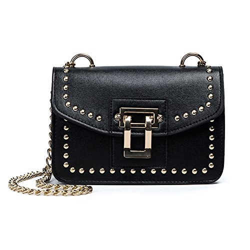Handbag Rivet Body Cross amp;n Chain Black A Studded Womens Iqw0p70O4