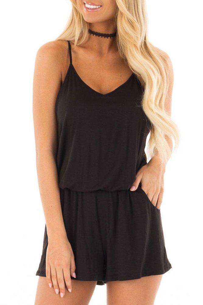 Adreamly Womens Loose Casual Summer One Piece Pockets Spaghetti Strap Short Jumpsuit Rompers Black X-Large