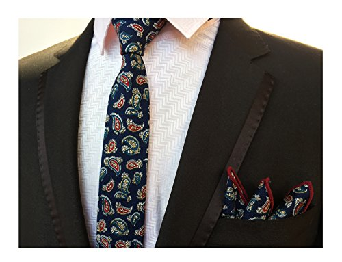 Floral Pattern Necktie - Men Navy Blue Red Paisley Printed Floral Pattern Neck Tie Birthday Gift for Guys